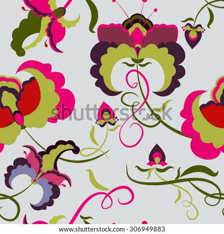 Elegant Seamless pattern with ornament, floral illustration in vintage style Floral background with colorful flower - stock vector