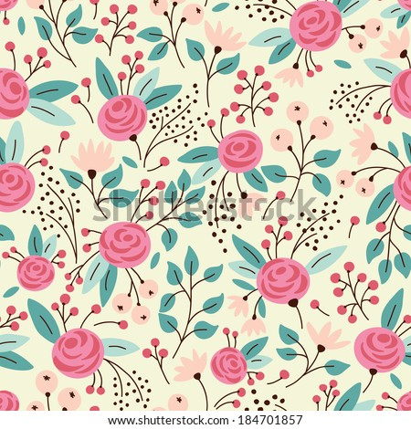 Elegant seamless pattern with pink flowers, vector illustration - stock vector