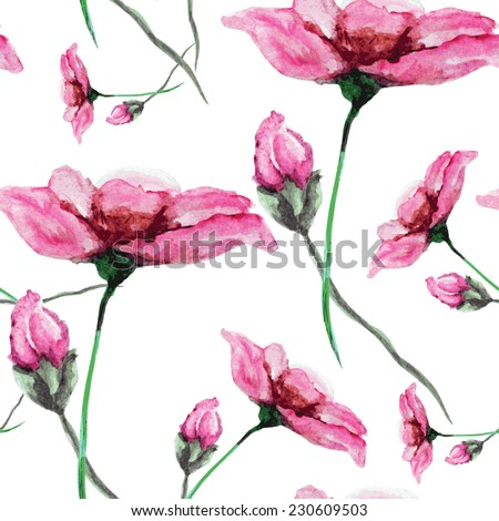 Elegant seamless pattern with watercolor painted pink flowers, design elements. Floral pattern for wedding invitations, greeting cards, scrapbooking, print, gift wrap, manufacturing - stock vector