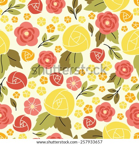 Elegant seamless pattern with yellow flowers. It can be used for desktop wallpaper or frame for a wall hanging or poster,for pattern fills, surface textures, web page backgrounds, textile and more. - stock vector