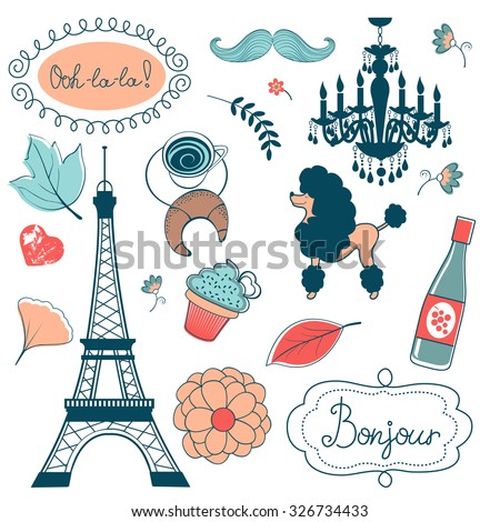 Elegant set with Eiffel tower flowers birds cupcakes and other graphic elements. Vector illustration - stock vector