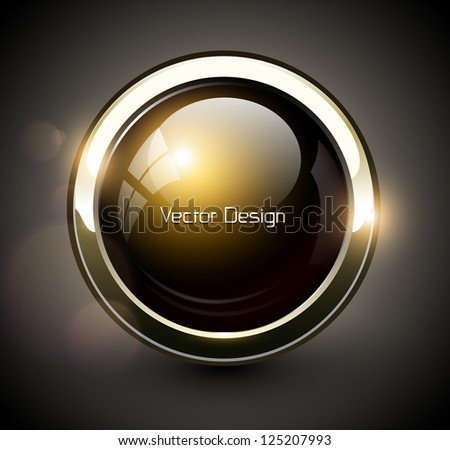 Elegant shiny button with metallic elements, vector design. - stock vector