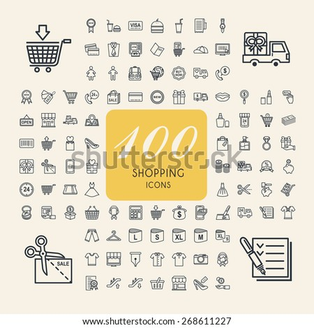 elegant 100 shopping icons set over beige background - stock vector