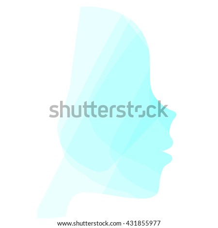 Elegant silhouette greeting card design with illustration of young girl. Fashion profile beauty salon. abstract girl hair. Marine design concept for beauty salon, spa, massage, cosmetic shop. - stock vector