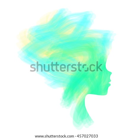 Elegant silhouette greeting card design with illustration of young girl. Fashion profile beauty salon. abstract girl hair. air design concept for beauty salon, spa, massage, cosmetic shop. - stock vector