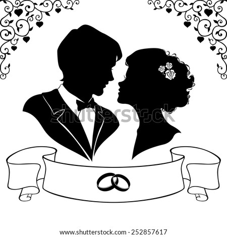 Elegant silhouette of the bride and groom isolated on white background. Vector illustration - stock vector