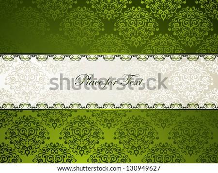 Elegant silk beige-emerald card, floral damask background, best for Wedding invitation, Visiting card etc - stock vector