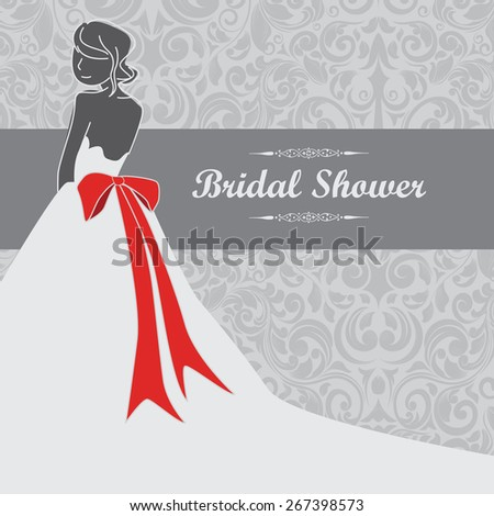 Elegant Simple Bridal Showers Wedding Card Invitation Decoration - stock vector