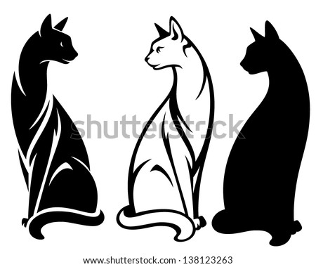 elegant sitting cats vector design - black and white outlines and silhouette - stock vector