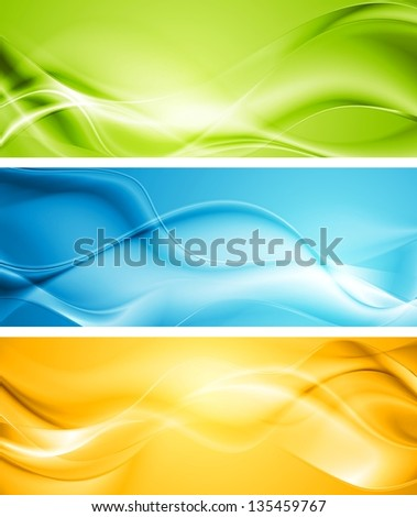 Elegant smooth waves banners. Vector template eps 10 - stock vector