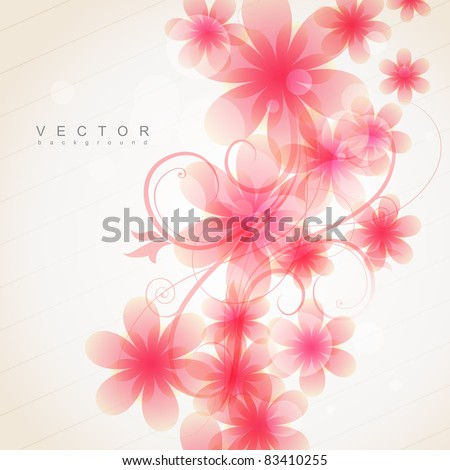 elegant soft pink color flowers vector - stock vector