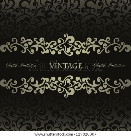 Elegant stylish invitation card, floral frame, seamless black background - stock vector