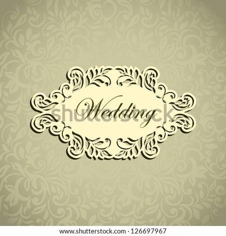 Elegant stylish modern Wedding Invitation - stock vector