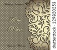 Elegant stylish Wedding Invitation, floral-lace design - stock vector