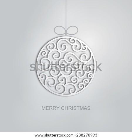 Elegant swirl Christmas ball with shadow. Eps10 vector card. - stock vector