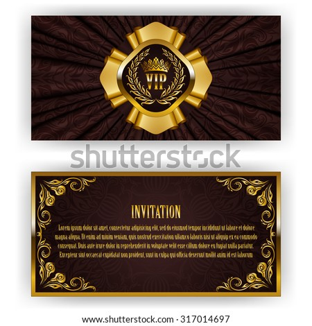 Elegant template for luxury invitation, gift card with lace ornament, crown, ribbon, laurel wreath, drapery fabric, place for text. Floral elements, ornate background. Vector illustration EPS 10. - stock vector