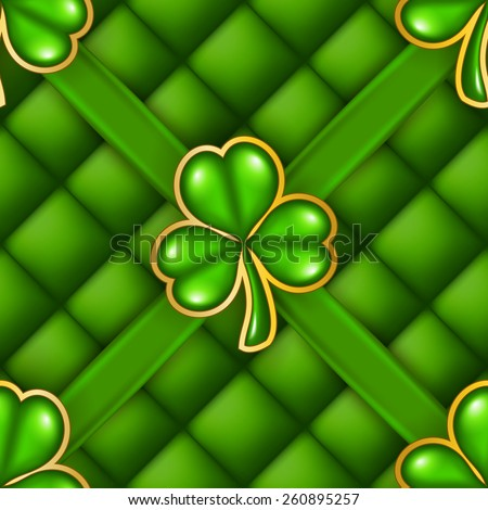 Elegant template for page, web design card with clover, button-tufted texture, ribbons.  Saint Patrick's Day seamless background. Vector illustration EPS 10. - stock vector