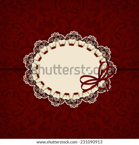 Elegant template luxury invitation, gift card with lace ornament, ribbon & place for text. Floral elements & ornate background Vector illustration EPS 10 - stock vector