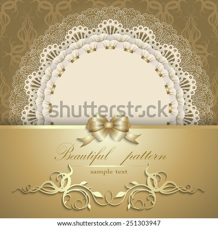 Elegant template luxury invitation, gift card with lace ornament, ribbon, silk bow, place for text. Floral elements, ornate background. Vector illustration EPS 10. - stock vector