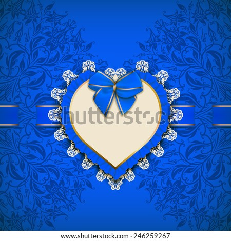 Elegant template luxury invitation, gift card with lace ornament, ruffles, frame, ribbon, bow, place for text. Floral elements, ornate background. Valentine's day design. Vector illustration EPS 10. - stock vector