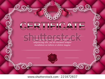Elegant template of diploma with decoration of filigree pattern, ribbon, wax seal, laurel wreath, button-tufted texture, place for text. Certificate of achievement, education, awards, winner. EPS 10. - stock vector