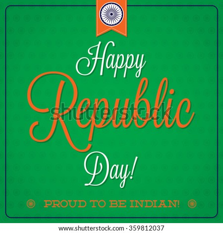 Elegant typographic Indian Republic Day card in vector format. - stock vector