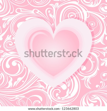 Elegant valentine's card with heart - stock vector