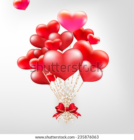 Elegant Valentines day heart balloons background. EPS 10 vector file included - stock vector