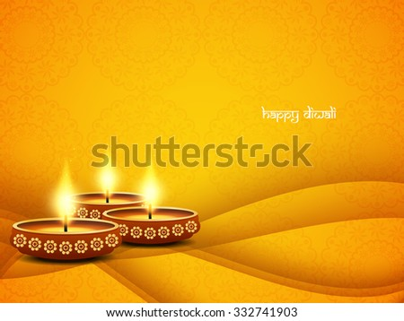 Elegant vector background design for Diwali festival with beautiful lamps. - stock vector