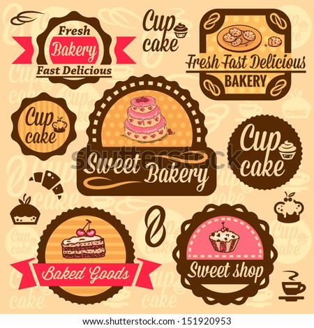 Elegant Vector Bakery Labels And Badges Set. All elements are grouped. - stock vector