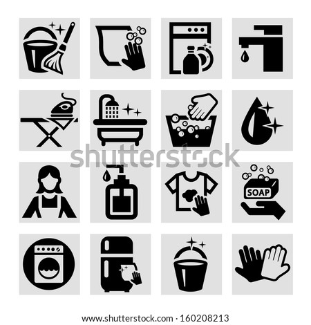 Elegant Vector Black Cleaning Icons Set. - stock vector