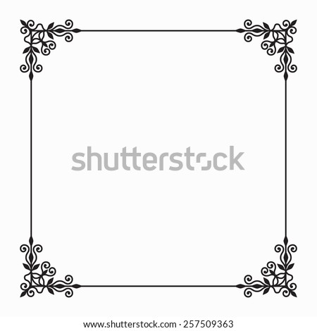 Elegant Vector Black Twirl Calligraphic Floral Baroque Line Frame with Flower and forging on White Background - stock vector
