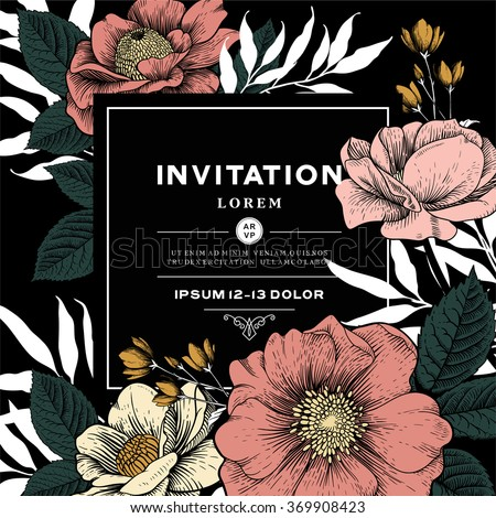 Elegant Vector Card with Vintage Victorian Graphic Floral Composition. Blank for Valentine's Greeting Postcard, Wedding Invitation or Any Design. - stock vector