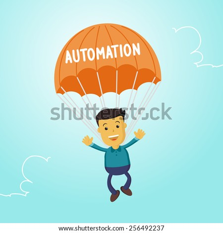 Elegant Vector Character Series | Businessman people waving hand jumping on parachute of automation - stock vector