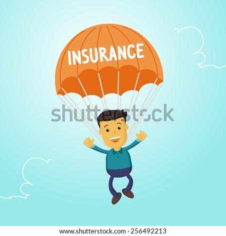 Elegant Vector Character Series | Businessman people waving hand jumping on parachute of insurance - stock vector