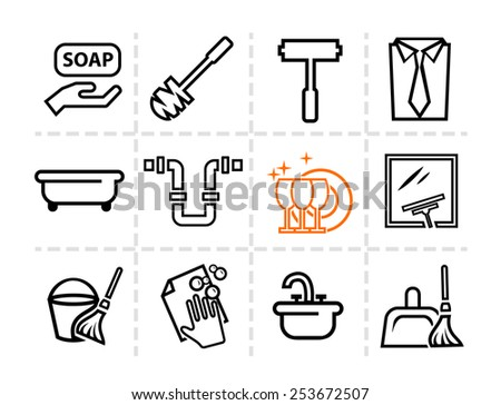 Elegant Vector Cleaning and Washing Line Icons Set. - stock vector