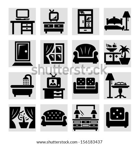 Elegant Vector Furniture Icons Set. - stock vector