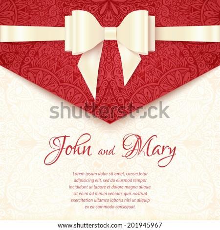Elegant vector wedding card template - stock vector