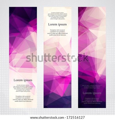 Elegant vertical banners with light and dark pink transparent polygonal shapes. - stock vector