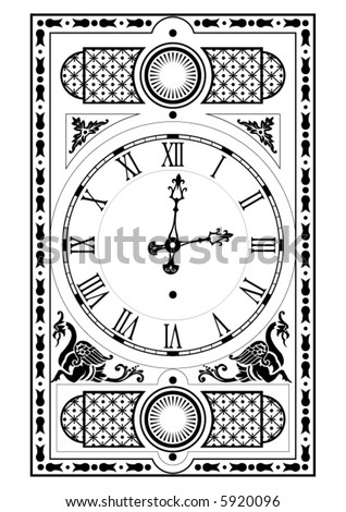 elegant victorian clock face and hands with decorative elements - stock vector
