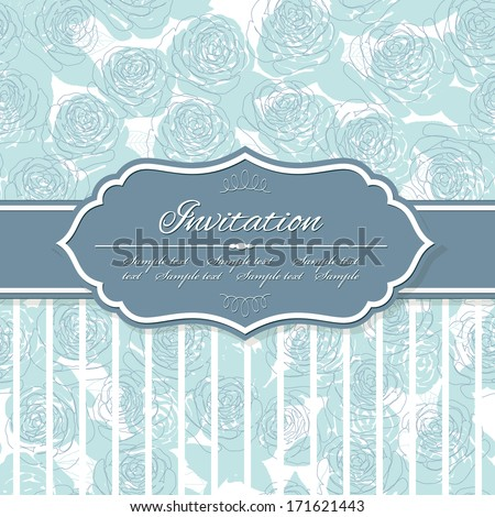 Elegant vintage banner frame on floral pattern background in pastel blue. Can be used for scrapbook design or wedding invitation. - stock vector
