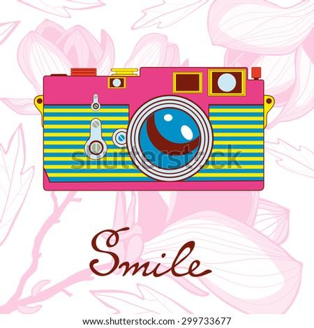 Elegant vintage camera on floral background. Vector illustration - stock vector