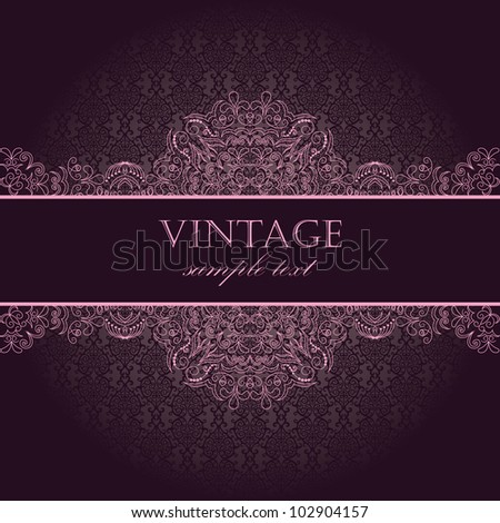 Elegant vintage card with damask seamless wallpaper - stock vector