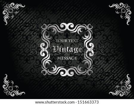 Elegant vintage frame. Damask seamless wallpaper on striped background in black. Retro design       - stock vector