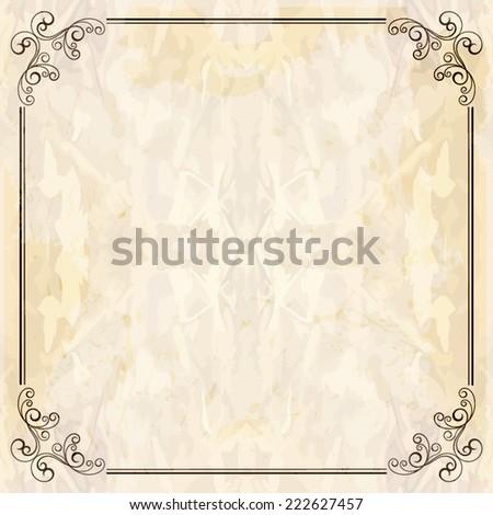 Elegant vintage frame with floral pattern - stock vector