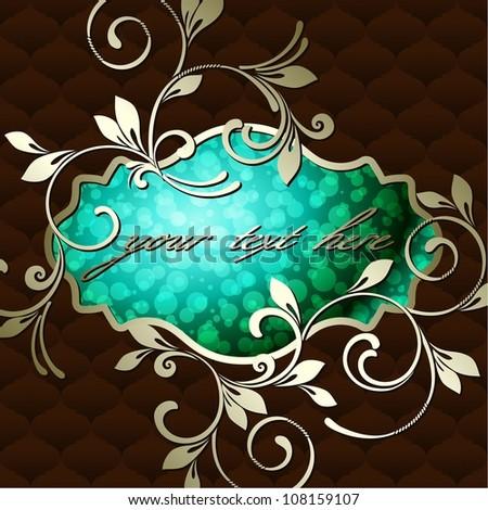 Elegant vintage rococo label in dark green (eps10); jpg version also available - stock vector