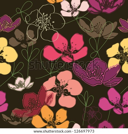 Elegant  wallpaper, Floral design - stock vector