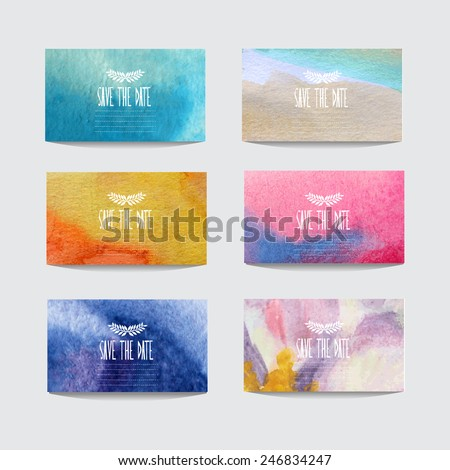 Elegant watercolor cards, design elements. Can be used for wedding, baby shower, mothers day, valentines day, birthday cards, invitations, banners, flyers, gift wrap, print, manufacturing - stock vector