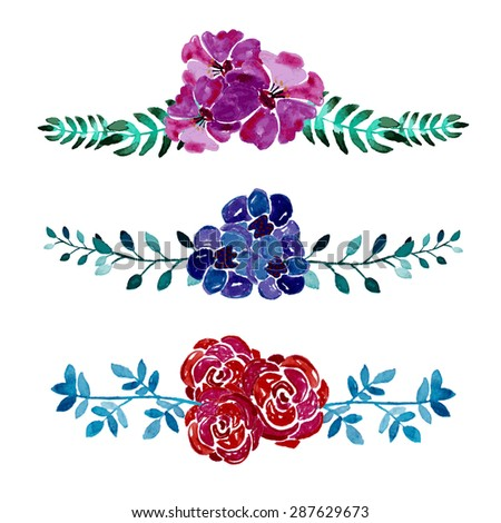 Elegant watercolor floral bouquets, design elements. Floral compositions can be used for wedding, baby shower, mothers day, valentines day cards, invitations - stock vector