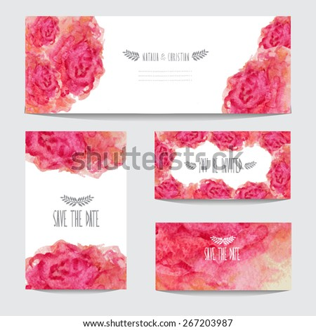 Elegant watercolor floral cards, design elements. Can be used for wedding, baby shower, mothers day, valentines day, birthday cards, invitations, banners, flyers, gift wrap, print, manufacturing - stock vector